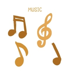 Set of Hand-drawn gold music notes on white vector image vector image