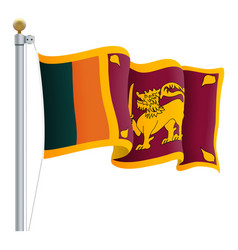 waving sri lanka flag isolated on a white vector image
