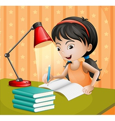 A girl writing with a lampshade vector image