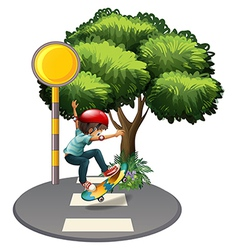 A young gentleman playing at the pedestrian lane vector image vector image
