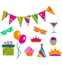 colorful party set vector image