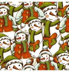 Hand-drawn Christmas Seamless Background vector image vector image