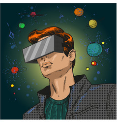 pop art of young man in 3d vector image