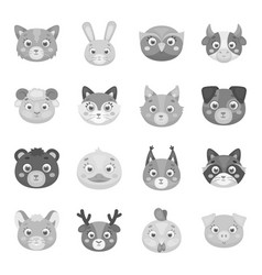 animal muzzle set icons in monochrome style big vector image