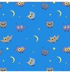 Seamless background with owls vector image