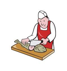 Sushi Chef Butcher Fishmonger Cartoon vector image vector image
