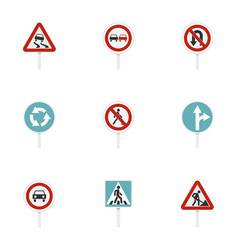 various road signs icons set flat style vector image vector image