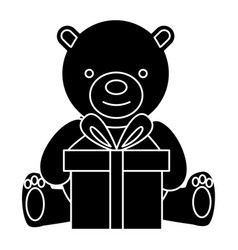 bear teddy with gift box icon vector image