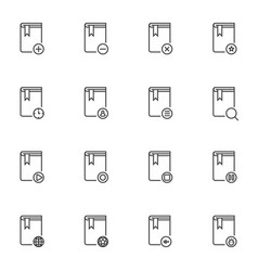 books line icons set vector image
