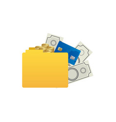 Color silhouette of folder with money accounts vector