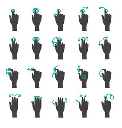 hand touch gestures flat icon set vector image vector image