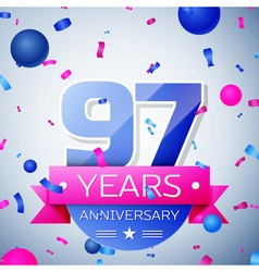 Ninety seven years anniversary celebration on grey vector image