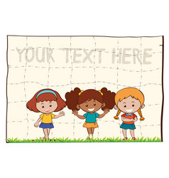 paper background with three happy girls vector image vector image