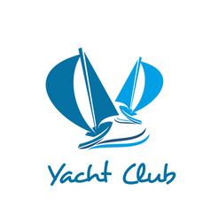 sailing ship or boat icon for yacht club design vector image
