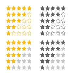 5 star rating icon set vector