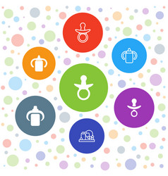 7 pacifier icons vector