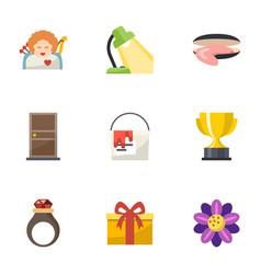 9 decoration flat icons set isolated on white vector image