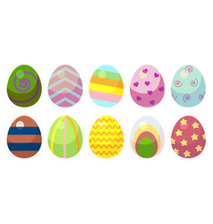 a set of eggs with patterns ten eggs with vector image