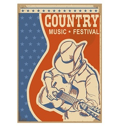 American Country music background retro poster vector