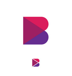 B pink violet transparent logo abstract monogram vector