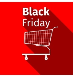 Black friday sale Shopping cart flat icon with vector image