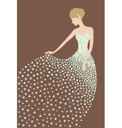 Bride in the dress made of flowers vector image