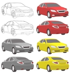 Car two view front and back vector