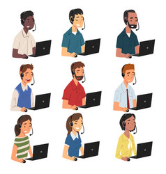 collection call center operators male and vector image