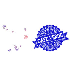 Composition of gradiented dotted map of cape verde vector