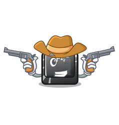 cowboy f4 button installed on cartoon keyboard vector image