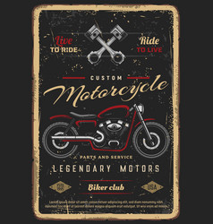 Custom motorcycles parts and service poster vector