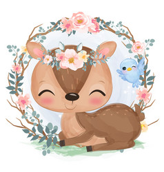 Cute animal in watercolor vector