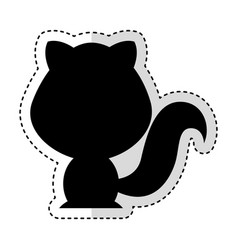 cute cat silhouette isolated icon vector image