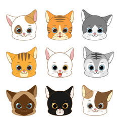 cute smiling cat head collection set vector image
