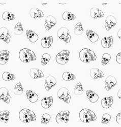 dark skulls on white background pattern vector image