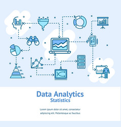 data analytics statistics signs banner card vector image