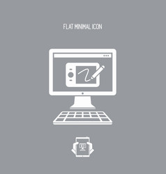 designer tablet application - flat minimal icon vector image