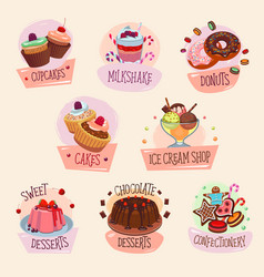 dessert icons for bakery shop vector image