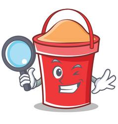 detective bucket character cartoon style vector image