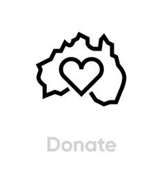 donate for australia icon editable line vector image