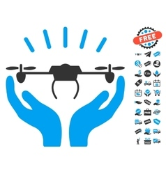 Drone Launch Hands Icon With Free Bonus vector
