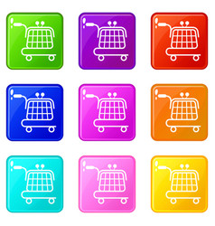 economy trolley icons set 9 color collection vector image