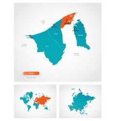 Editable template map brunei with marks vector