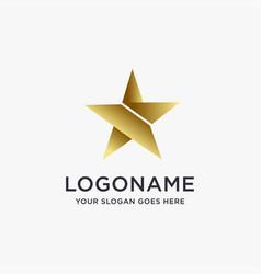 elegant golden star logo icon template vector image
