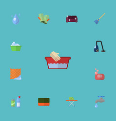 flat icons sofa aqua faucet and other vector image