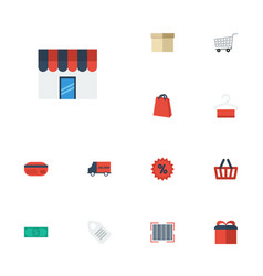 Flat icons trolley bag bus and other vector