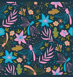 floral folk nature textile print seamless pattern vector image