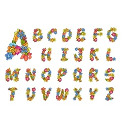 Flowers Alphabet Colored vector image