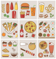 FOOD AND DRINK FLAT ICONS DESIGN vector