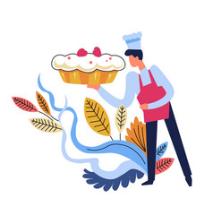 food cooked by chef wearing hat floral decor vector image